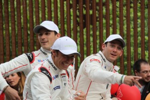 Drivers of #91 Porsche 911 RSR - Patrick Pilet, Kevin Estre and Nick Tandy. Photo: Roger Jenkins